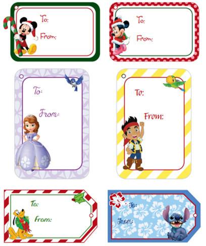 Etiquetas de Navidad de Disney imprimibles para los regalos