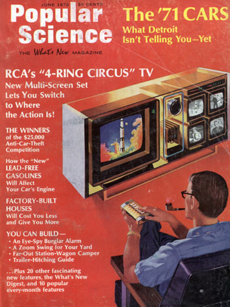 Retrofuturistic Popular Science Four Screen Tv