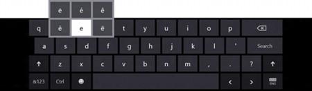 Efecto de mantener pulsación en el teclado táctil de Windows 8