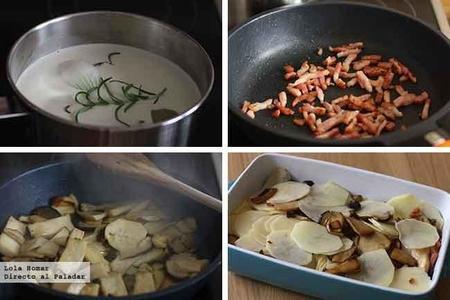 Gratinado de patatas, setas y bacon Paso A Paso