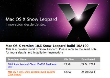 Apple envia a los desarrolladores una nueva versión de Mac OS X 10.6 Snow Leopard (10A190)