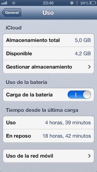 Captura gasto batería iPhone 5
