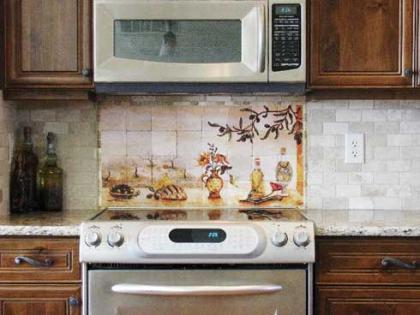 Murales de azulejos para el hueco de la campana - Cocinas con azulejos pintados ...