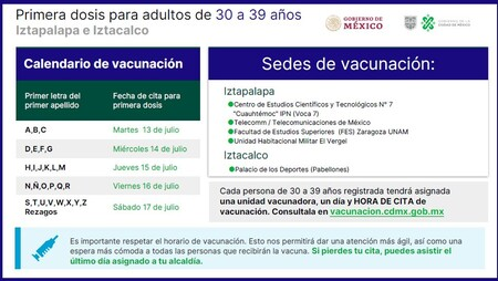 Calendario vacunación Iztapalapa 30 a 39 años