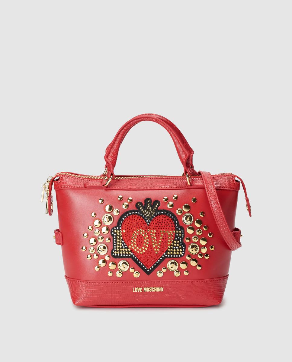 Bolso de mano mini Love Moschino en rojo con corazón frontal