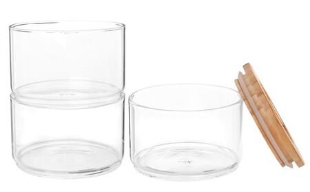 Tarros Apilables De Cristal Y Pino X3 1000 15 4 205086 2