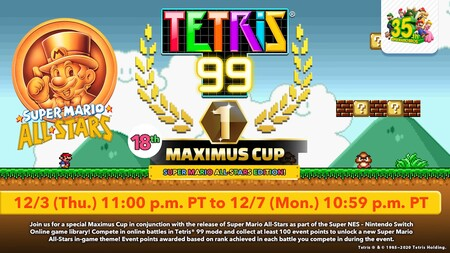 Tetris 99 se apunta a la celebración del 35 aniversario de Mario con un evento dedicado a Super Mario All-Stars