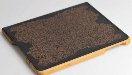 Carcasa y skin personalizables de madera y cuero para el iPad 2