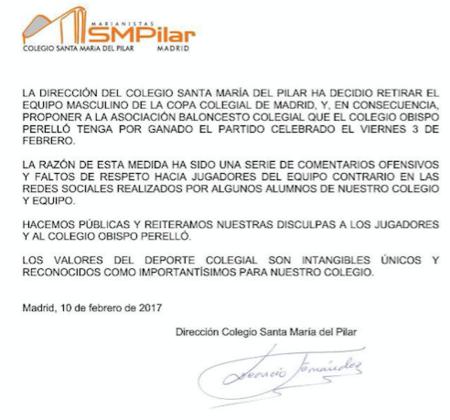 Cuando importan más los valores que la victoria: el colegio Santa María del Pilar deja ganar al equipo contrario