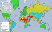 Mapa con los países más inseguros a la hora de viajar