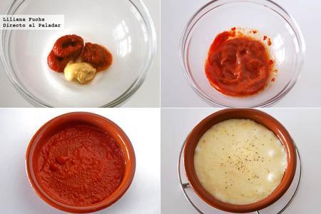 Provolone al horno con pesto y fondo picante. Receta de aperitivo. Pasos