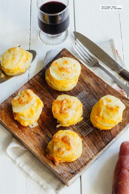 Milhojas de papa y queso. Receta