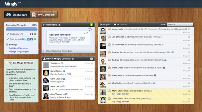 Mingly te ayuda a conocer la información de tus contactos en las redes sociales y Gmail