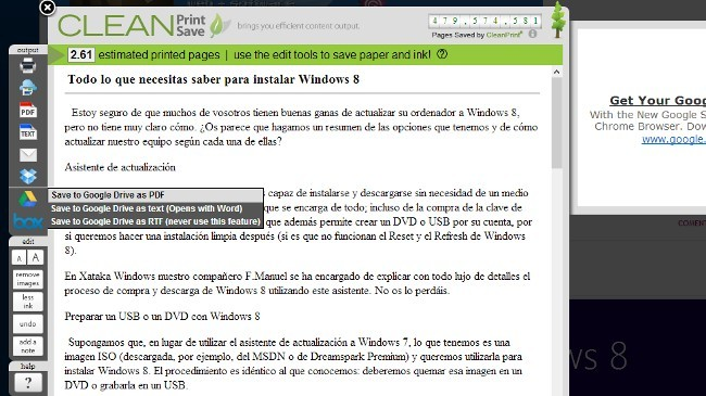 Guarda páginas web en Drive, Box o Dropbox desde Chrome con CleanSave