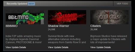 Steam ya ofrece más visibilidad a las actualizaciones