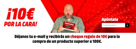 Cheque regalo de 10 euros, por la cara, en MediaMarkt