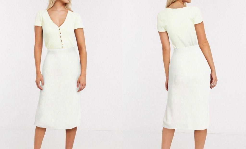 Falda midi de canalé en blanco copenhagen de In The Style x Lorna Luxe
