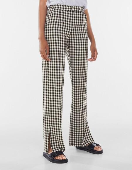 Pantalon Straight Con Lino Vichy