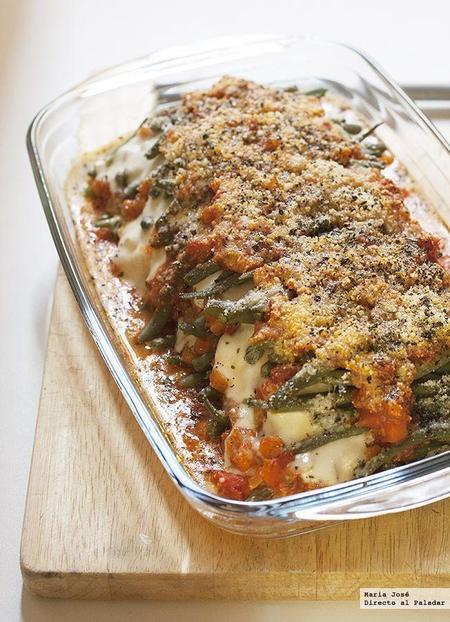 Lasaña de mozzarella y judías verdes gratinadas. Receta