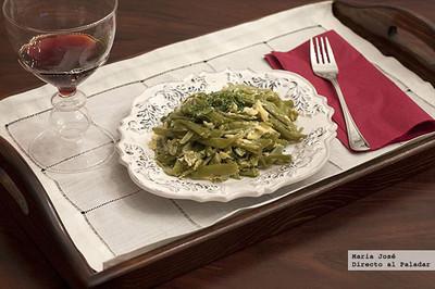 Receta de judías verdes con salsa de huevo