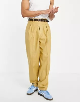 Pantalones de vestir amarillo mostaza de corte slim y talle alto de lino de ASOS DESIGN