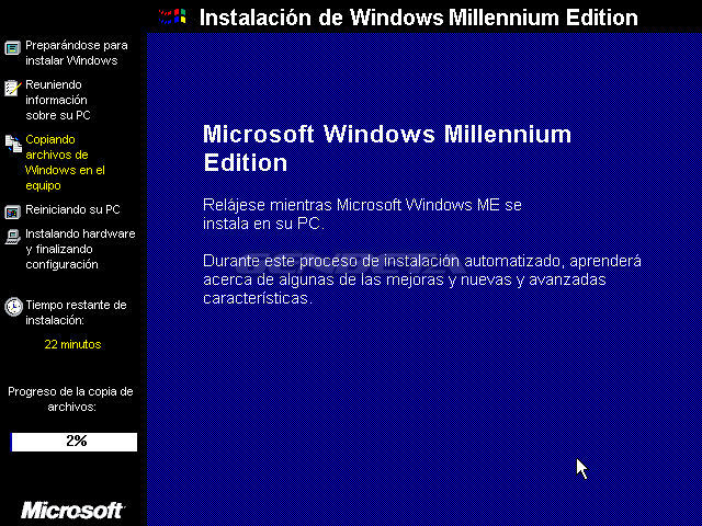 Foto de programa de instalación de Windows ME (2/4)