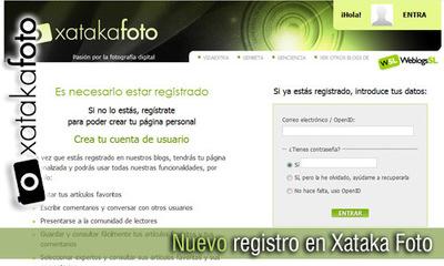 Nuevo registro en Xataka Foto, más fácil y más rápido