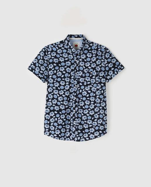 Camisa de hombre regular estampada azul marino