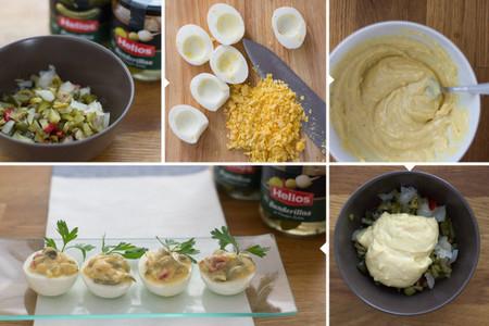 Huevos rellenos con encurtidos y mayonesa de mostaza - 2