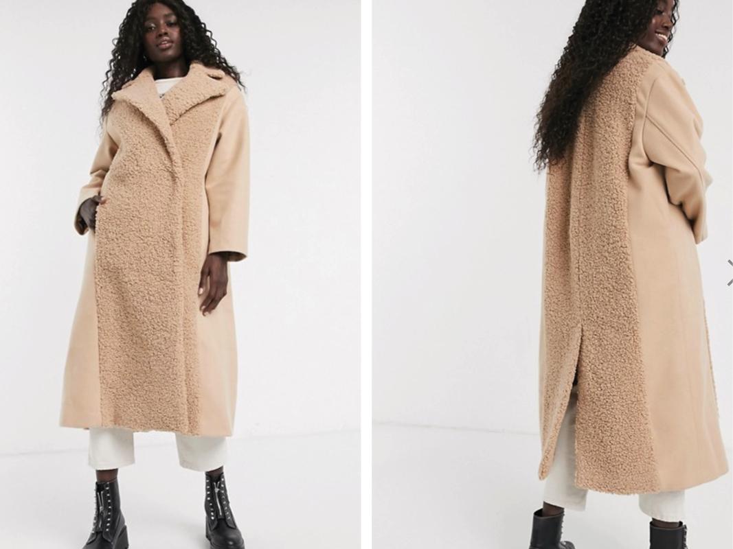 Abrigo largo camel con paneles de borreguito de ASOS DESIGN