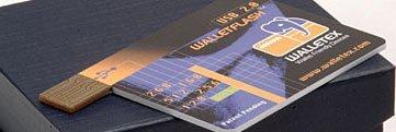 Disco USB de Walletex con la forma de una tarjeta de crédito