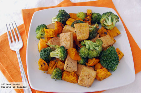 Salteado de brócoli, calabaza y tofu. Receta vegetariana