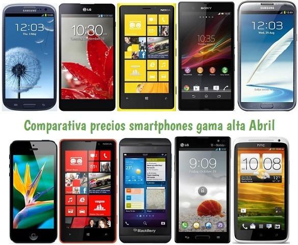 Comparativa Precios smartphones gama alta abril 2013