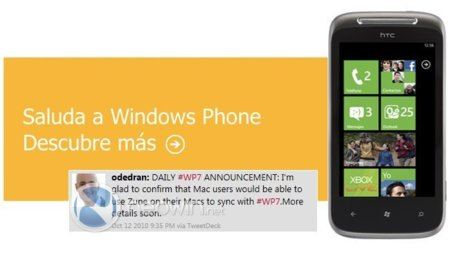 Windows Phone 7 podrá sincronizarse con Mac OS X y el software de Zune será también compatible