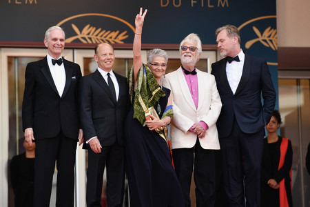 Keir Dullea, un invitado, Katharina Kubrick, Jan Harlan y Christopher Nolan