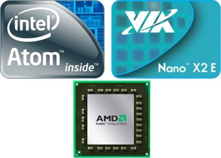 Intel Atom VIA Nano AMD Fusion logos