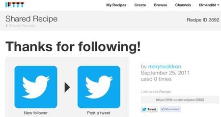 Si tengo un seguidor nuevo en twitter, escribe un twit de agradecimiento