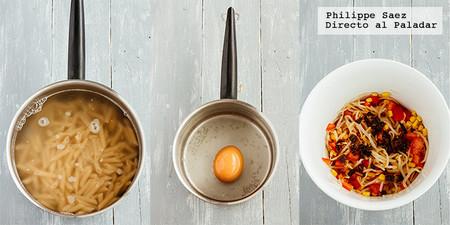 Ensalada Pasta Huevo Verduras