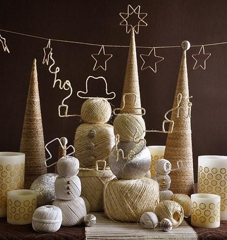 Decoración de Navidad con alambre y cordel