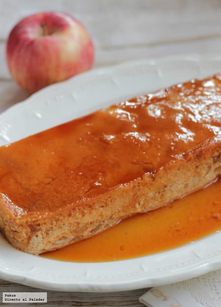 Flan de compota de manzana, receta de aprovechamiento