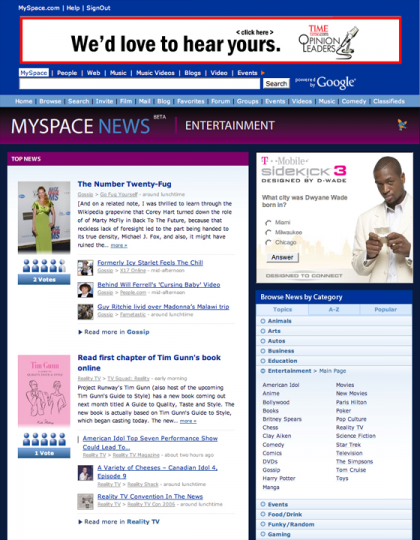 Myspace News listo en unas horas
