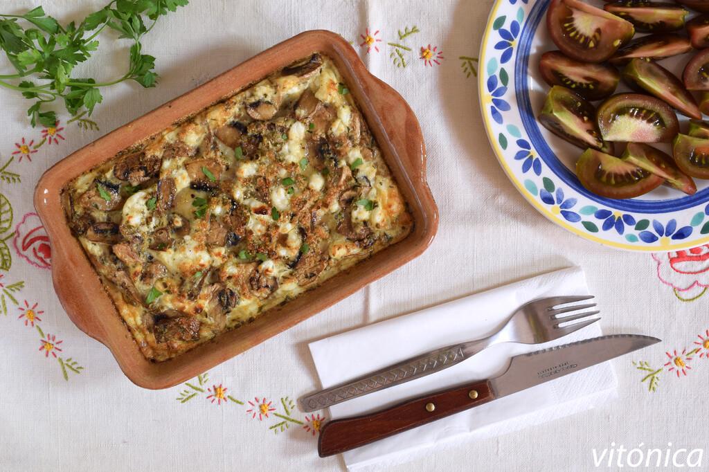 Frittata o tortilla de setas y queso de cabra al horno: receta saludable