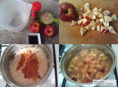 Avena con manzana, canela y miel. Receta fácil para el desayuno