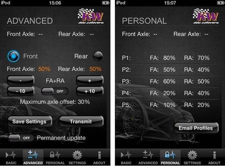 Pantallas de ajuste personalizado de la dureza de la suspensión en un iPhone