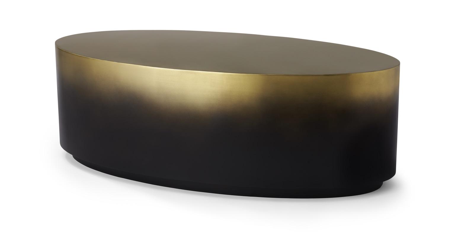 Mesa de centro ovalada Sulta, latón y negro efecto ombré