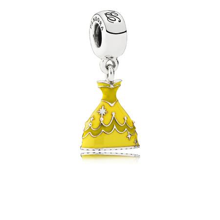 Pandora Vestido Bella Charm En Plata De Primera Ley Con Esmalte Amarillo Y Grabado Belle 59eur