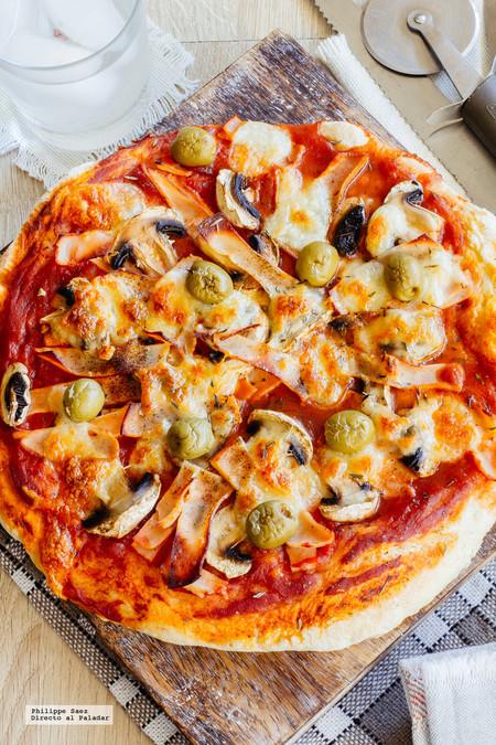 Receta De Pizza De Jamón Y Champiñones