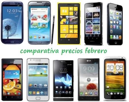 Comparativa Precios Smartphones más potentes Febrero 2013