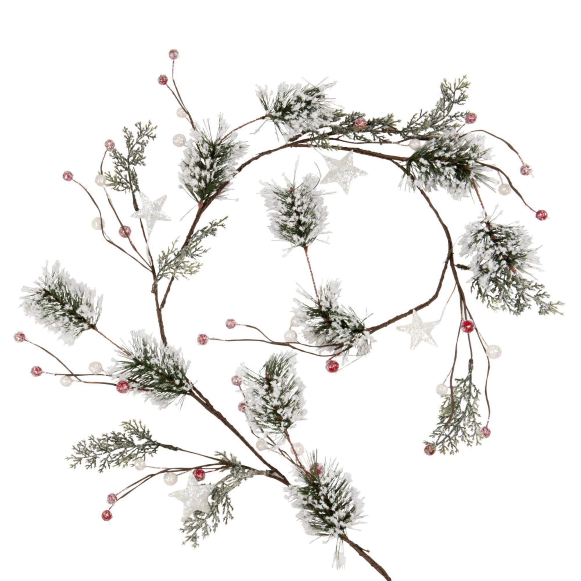 Guirnalda de con ramas de pino y bayas nevadas