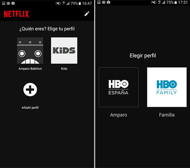perfiles Netflix HBO